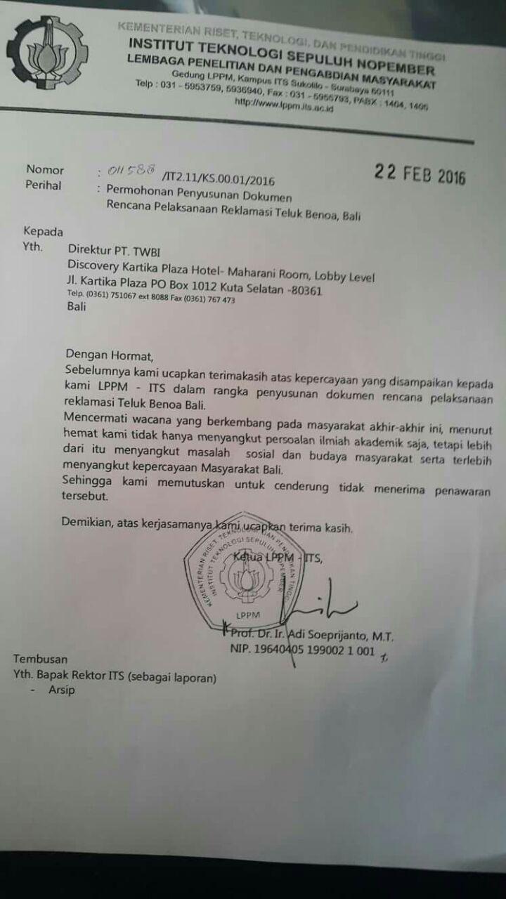 Its Tolak Tawaran Kajian Reklamasi Teluk Benoa Forbali