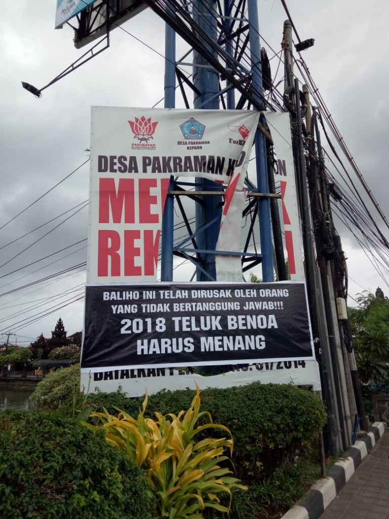 05-08-2018-Dokumentasi Baliho dirusak, ForBALI balas dengan spanduk satire (3)